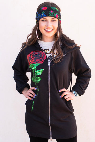 Sparkle Rose Zip-Up