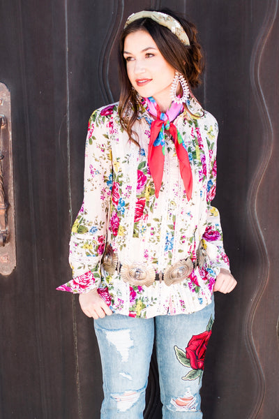 Darling Floral Rodeo Button Up