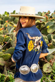 Libby Longhorn Denim Button Up