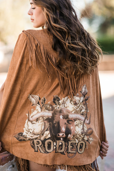 Rodeo Steer Poncho Camel