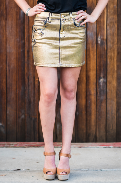 Rhinestone Cowgirl Skirt Gold