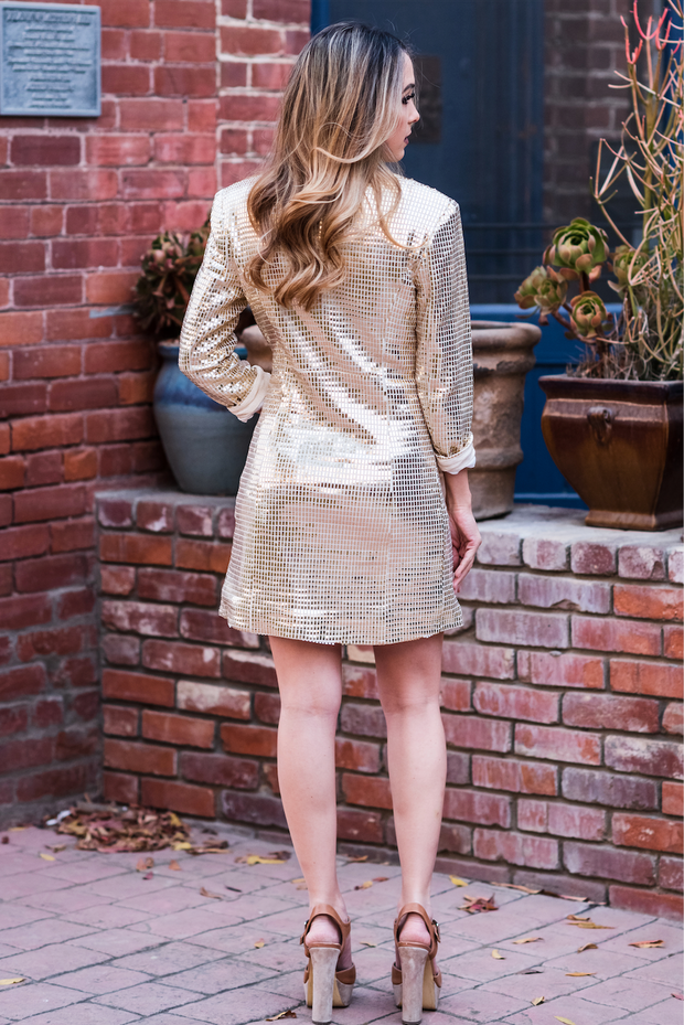Party Gold Blazer Dress