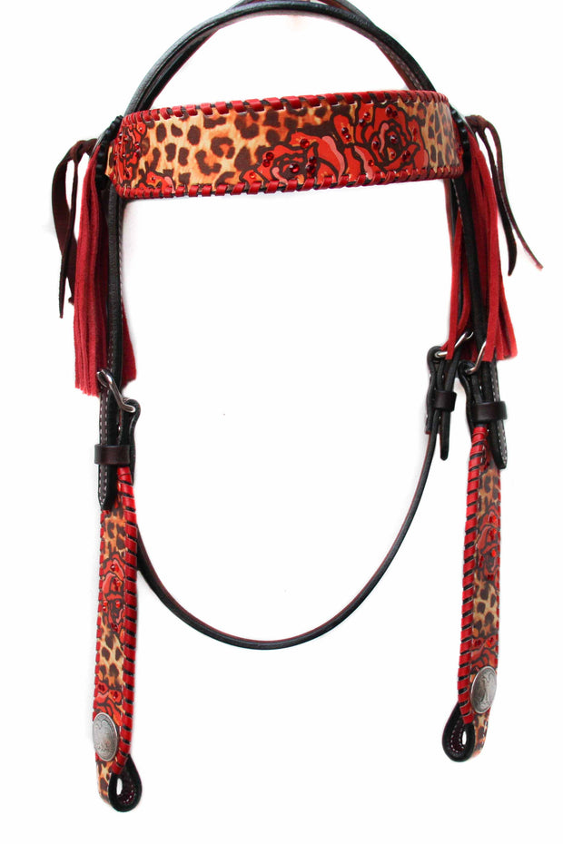Stampede Shane Red Lace/Fringe Browband Headstall