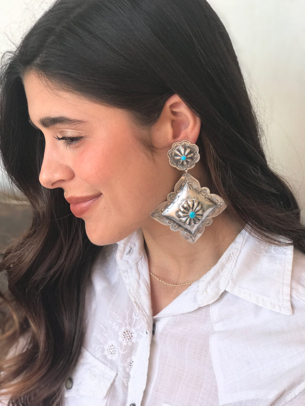 Sterling Sliver Concho Earrings w/ Turquoise