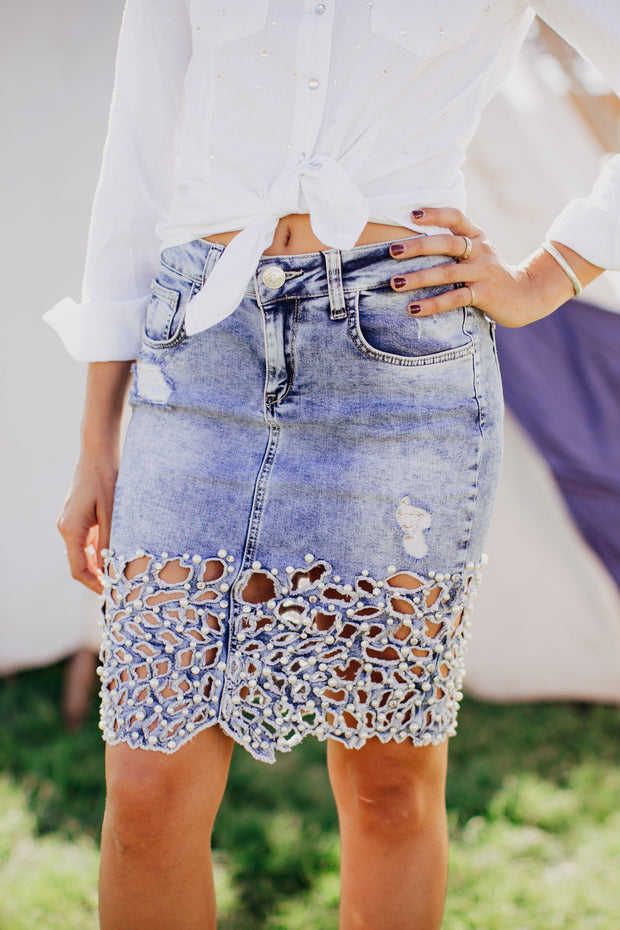 Denim Pearl Skirt