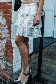 Silver Sequin Tiered Skirt