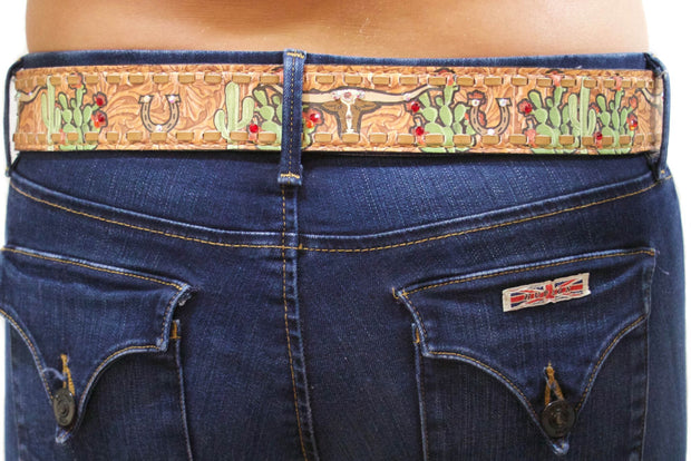 Cactus Steer Rodeo Belt (Brown Lace)
