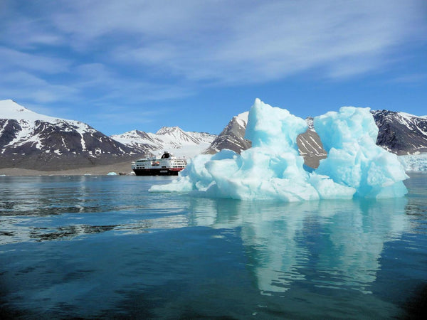 A cruise ship sails through the Arctic as global warming opens up new shipping lanes in the region Hurtigruten
