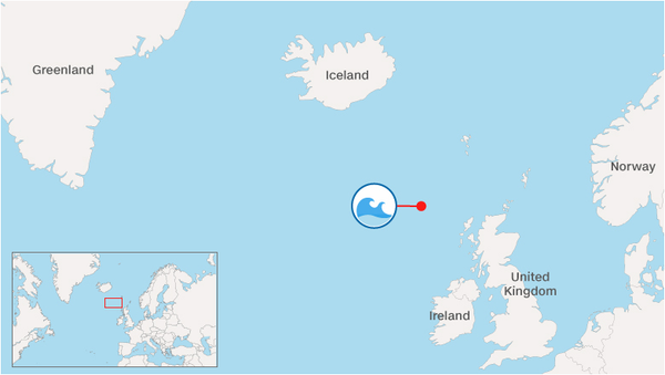 The 19-metre (62.3ft) wave happened between Iceland and the United Kingdom