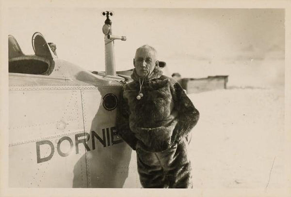 Roald Amundsen in Svalbard, Norway in 1925 in front of one of the Dornier Do J flying boats he took to the North Pole