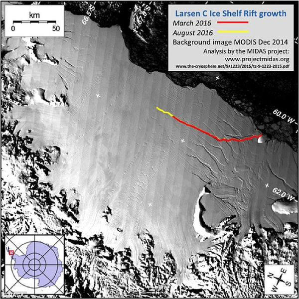 The rift is likely to lead to an iceberg breaking off, which will remove about 10% of the ice shelf's area