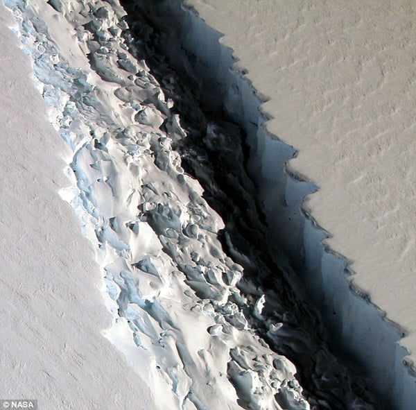 The view of a newly discovered 300-ft wide rift in the Larsen-C ice shelf
