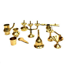 Brass Miniature Puja play Set 10 pieces