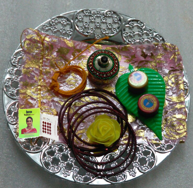 Return gift set/ Thamboolam-Basic+ german silver plate+Kumkum box/chimizh/ holder