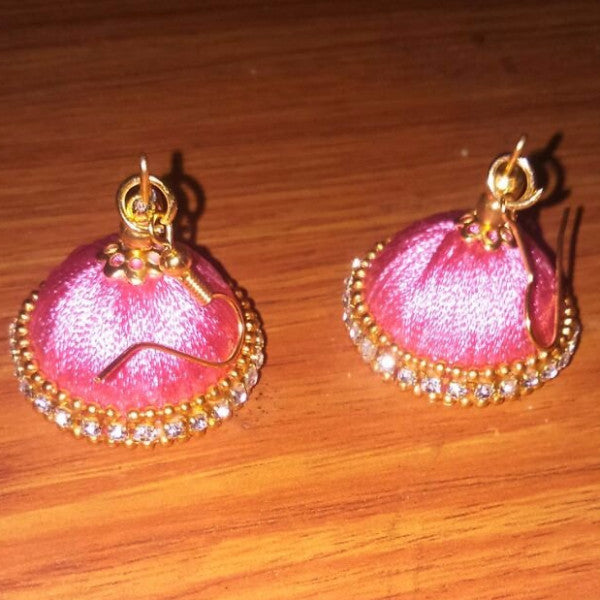 Light pink silk thread jhumka