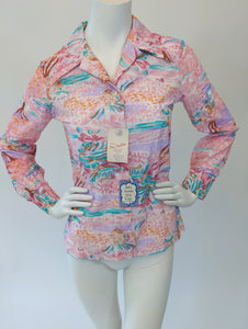 Vintage Poppy Pink Button Up Shirt