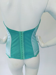 Aqua Hand Dyed Vintage Bustier