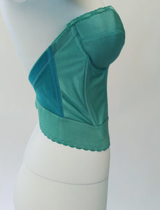 Hand Dyed Vintage Teal Bustier