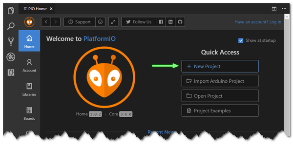 PlatformIO: New Project