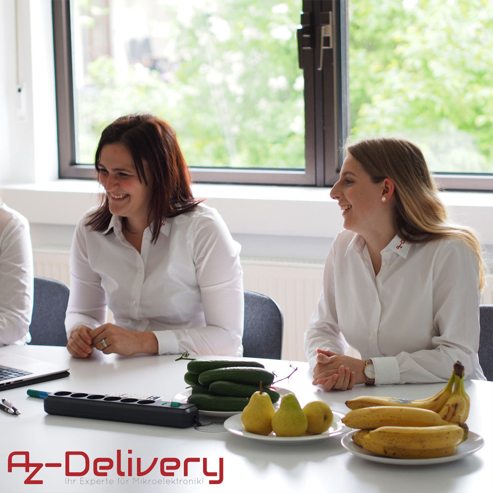 azdelivery team in a meeting girls smiling