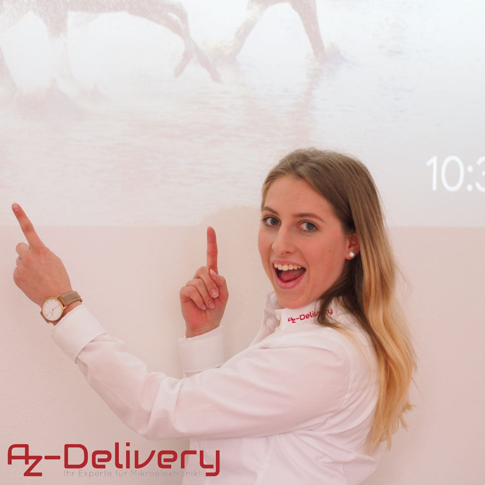 az delivery girl employee smiling and pointing to board