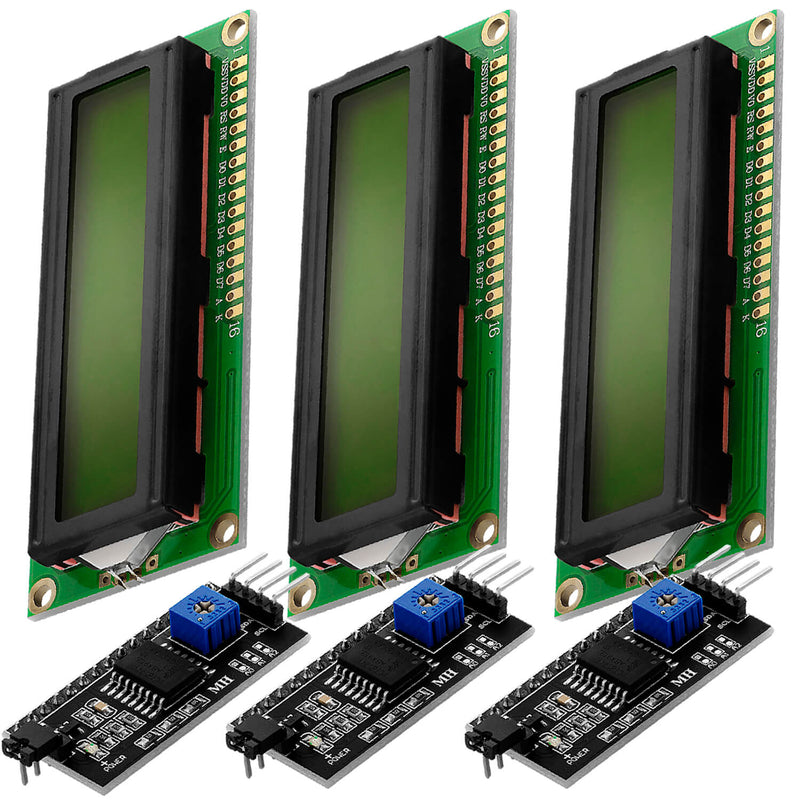 HD44780 1602 LCD module display bundle with I2C interface 2x16 characters (with green background)