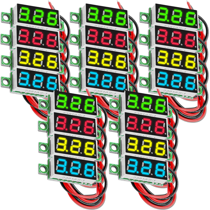 0.28 Inch LED Mini Digital Voltmeter, 2-Wires DC 2.5V - 30V, 7 Segment Display