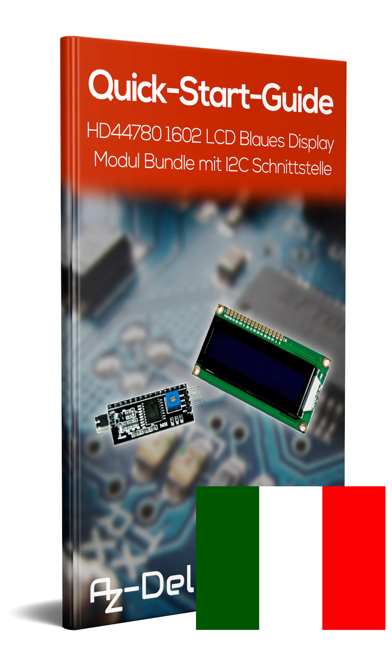 LCD Display 16x2 with blue background and I2C Converter Bundle