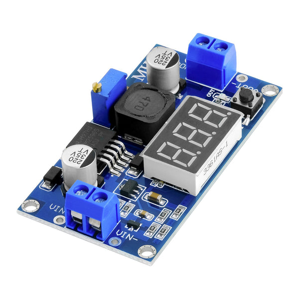LM2596S LM2596 DC-DC 3 Digit Voltmeter Display 3.3V 24V Step-down Module, with Digital Display, Compatible with Arduino