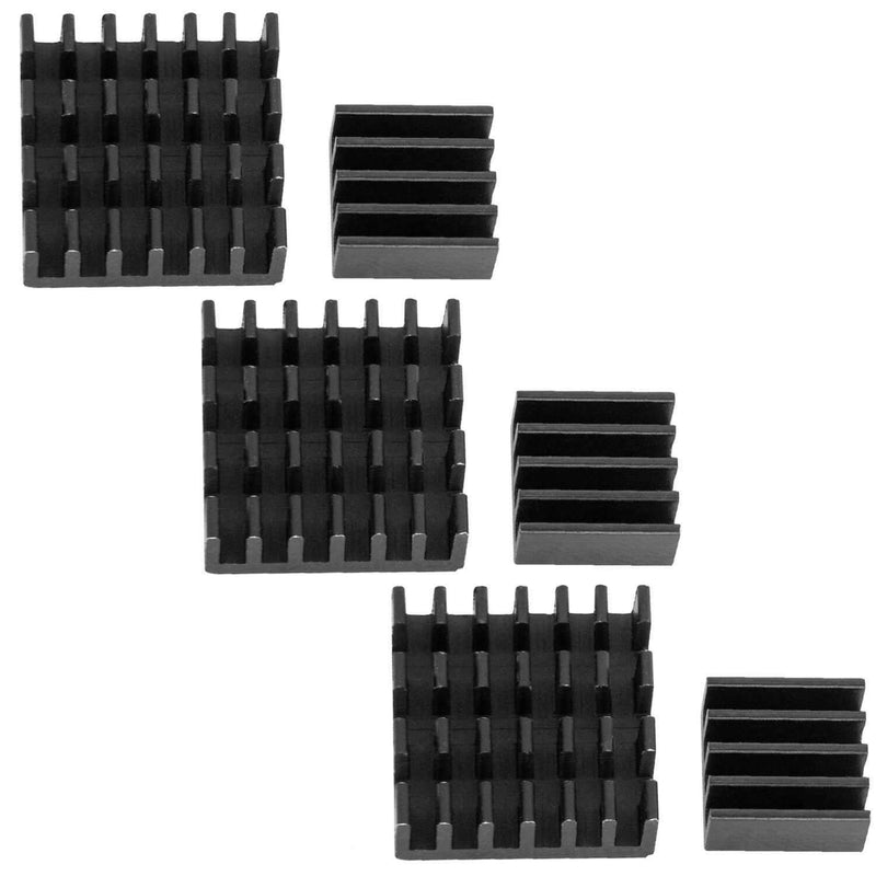 Set of 2 black aluminum heat sink passive for Raspberry Pi 3 with thermally conductive special adhesive film RaspberryPi Accessories AZ-Delivery 3x Set