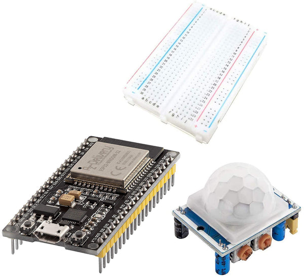 Starter Kit ESP32 Dev Kit C NodeMCU - HC-SR501 PIR Motion Sensor Project with Mini Breadboard