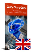 Blue USB cable for USB A to USB Micro B, with USB 2.0