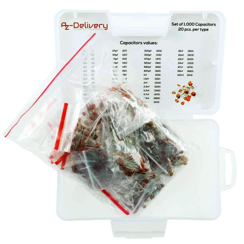 Capacitor assortment ceramic capacitors 1000 parts, 50 types each 20 pieces Arduino accessories AZ-Delivery
