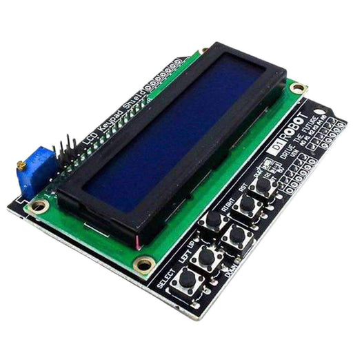 Image of 1x LCD Keypad LCD1602 Display Keypad Shield HD44780 1602 Modul mit 2x16 Zeichen für Arduino with projects datasheet and schematics by AZ-Delivery