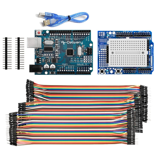 Mikrocontroller Board mit USB-Kabel + Prototyping Shield + Jumper Wire Kabel 3 x 40 Stk.