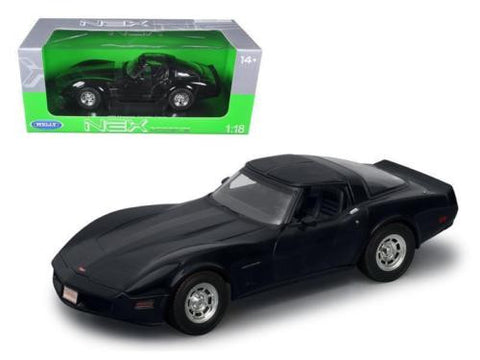 Welly 1:18 1982 Black Chevrolet Corvette Diecast Model Car