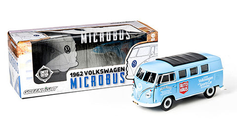 "GREENLIGHT 1:18 1962 VW MICROBUS ""AUTO HAUS "" W/ WHITE TOP DIECAST MODEL CAR"
