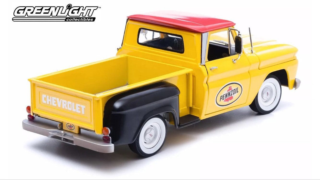 GREENLIGHT 1:18 1965 YELLOW CHEVY C-10 STEPSIDE PENZOIL PICK UP TRUCK