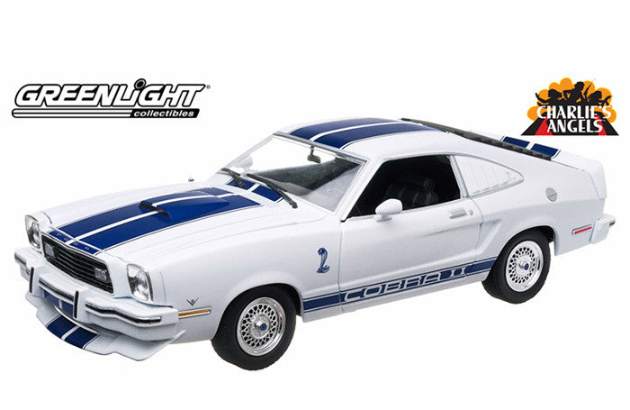 GREENLIGHT 1:18 CHARLIE'S ANGEL 1976 WHITE FORD MUSTANG COBRA II DIECAST MODEL CAR