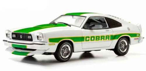 GREENLIGHT 1:18 1978 WHITE FORD MUSTANG COBRA II GRN STRIPES DIECAST MODEL CAR