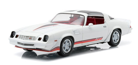Greenlight 1:18 Scale 1981 Chevrolet Camaro Z/28 White with Red Stripes and Carmine Interior Diecast Model Car