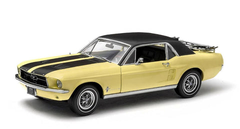 "GREENLIGHT 1:18 1967 YELLOW FORD MUSTANG COUPE ""SKI COUNTRY SPECIAL "" DIECAST MODEL CAR"
