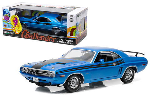 Greenlight 1:18 Scale 1971 Blue Dodge Challenger RT Diecast Model Car