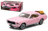 Greenlight 1:18 Scale 1967 Pink Ford Mustang Coupe W/ Luggage Diecast Car
