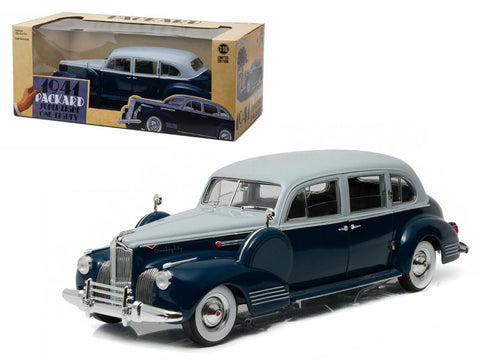 Greenlight 1:18 Scale 1941 Silver French Gray Metallic Duco and Barola Blue  Packard Super Eight One-Eighty Diecast Model Car