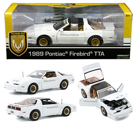 Greenlight 1:18 1989 Pontiac Turbo Trans Am (TTA) - 73rd Indianapolis 500 Official Pace Car (White)