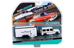 1:64 scale Mercedes G Class Wagon White and Car Trailer Tow & Go diecast model car by Maisto