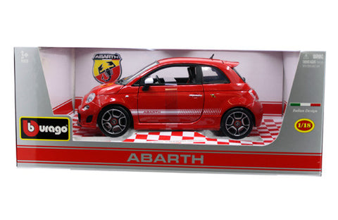 BBURAGO 1:18 DIAMOND RED FIAT ABARTH 500 2008  DIECAST MODEL CAR