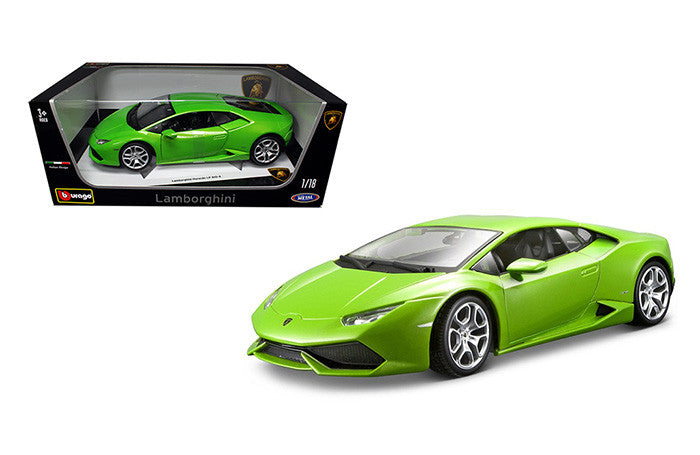 BBURAGO 1:18 PLUS LAMBORGHINI 2015 GREEN HURACAN LP610-4  DIECAST MODEL CAR