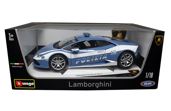 BBURAGO 1:18 PLUS BLUE LAMBORGHINI HURACAN POLIZIA DIECAST MODEL CAR